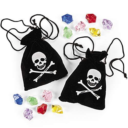 cama24com 6 Stück Piraten Schatzbeutel, Piraten-Beutel mit Edelsteinen Schatz Piratenparty Palandi®