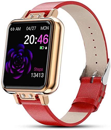 Gymqian Lady Smart Watch, Reloj de Rastreador de Fitness con Monitor de Ritmo Cardíaco Monitor de Presión Arterial Paso Sleep Tracker Pedómetro Bluetooth Paso para Android Y Ios Tel