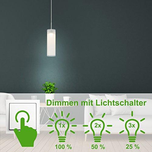 Briloner Led-hang- en hanglamp, plafondlamp met dimmer, voor eettafel & eetkamer, woonkamer- & plafondlamp, 5 W, 120 x 10,5 cm