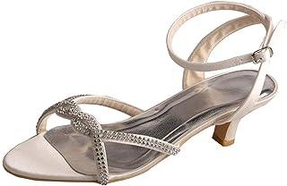 NJSDHEVS Women's Low Heel Ankle Strap Rhinestone Party Sandals