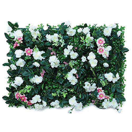 Artificial Hedge With Flowers Faux Greenery Privacy Screens Green Hedge Backdrop,Outdoor Grass Greenery Ivy Privacy Fence Screen, Plastic Garden Fake Fence Mat Panel Trellis Wall Decoration-4060CM