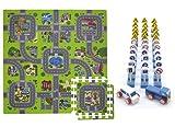 Alfombra Puzzle de Goma EVA para niños. Diseño de Circuito de tráfico. 1 cm. de Espesor. con 33 señales y 2 vehículos