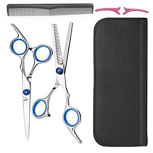 Juego de tijeras profesionales de corte de pelo de acero inoxidable de calidad de 16,5 cm, tijeras de peluquería y peluquería (azul)