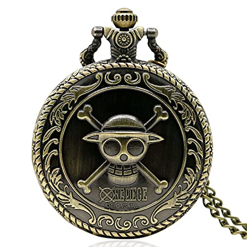 Reloj de BolsilloRetro de Bronce para Hombre,Collar de Cadena,Reloj deCuarzo paraHombre, P312