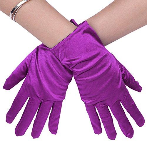 Guantes de boda para mujer de satén, guantes cortos, guantes góticos elegantes,...