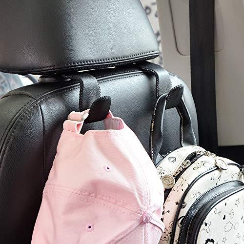 Car Hooks Universal Car Vehicle Back Seat Headrest Hanger Holder Hook Microfiber Leather & Stainless Steel for Bag Purse Cloth Drink Grocery (Black)