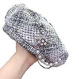 WMA Sombrero de Boina con decoración de Diamantes para Mujer, Gorro de diseñador con Adorno de Perlas, Sombreros octogonales de Pintor a Cuadros, Blanco, China, 56-58Cm