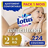 Lotus Baby Natural Touch - Couches Taille 2 (3-6 kg/Nouveau-Né) - lot de 4 paquets de 56 couches (224 couches en totale)