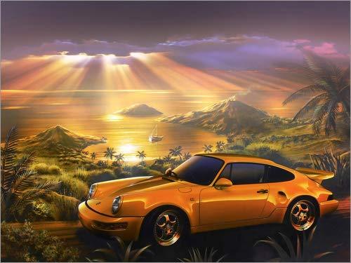 Acrylglasbild 130 x 100 cm: Porsche am Strand von Adrian Chesterman/MGL Licensing - Wandbild, Acryl Glasbild, Druck auf Acryl Glas Bild