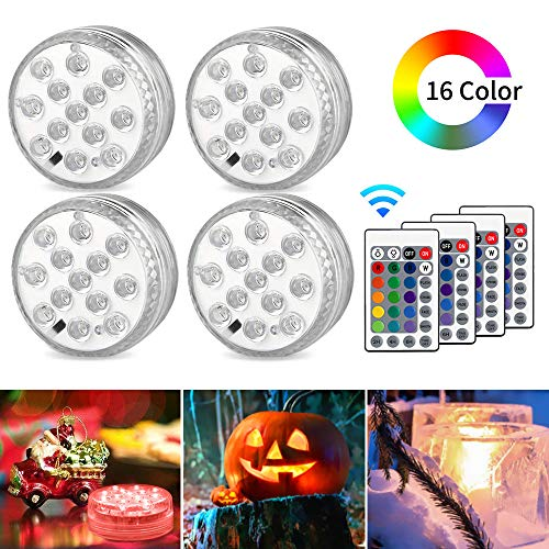 AODOOR Unterwasser Licht, RGB Multi Farbwechsel wasserdichte LED Leuchten für Vase Base Party,Weihnachten,Schwimmbad, Halloween, Weihnachten - 4 Stück