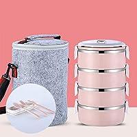 積み重ね可能なステンレススチールランチボックスとランチバッグ,漏れ 大人のための食器付きサーマルフード貯蔵容器-i 25.5x14.8cm(10x6inch)