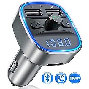 Reproductor MP3 Adaptador de Radio con USB Doble Pantalla LED Acepta Tarjetas SD VIDEN Transmisor FM Bluetooth Coche Manos Libres y Flash Drive Bluetooth para Coche USB