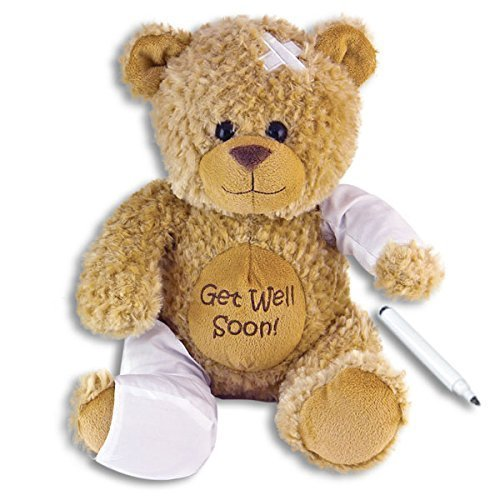 15' Plush GET WELL SOON Teddy Bear w/Cast for Autograph - Speedy Recovery GIFT for Hospitalized CHILD Adult - KEEPSAKE