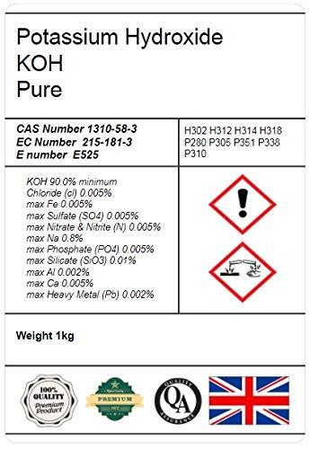 Idrossido di potassio in fiocco, 90% potassio caustico, KOH E525, 1 kg