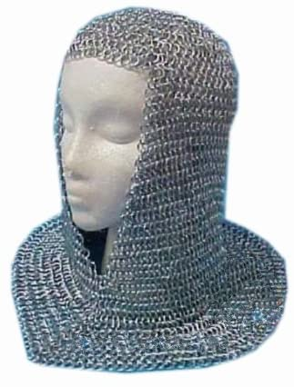 Queen Brass Chainmail Coif Aluminum Chain Regular discount Medie High quality new Mail V-Neck Hood
