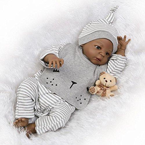 Funny House 23Inch 57cm Handmade HOT Full Body Silicone Soft Vinyl Realistic Lifelike Reborn Baby Doll Weighted Newborn Boy Dolls Black Indian Style Anatomical Correct Xmas Gifts -  RBB Dolls, 23NPK1507B401