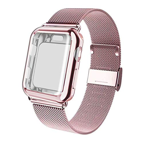 ADWLOF Compatible for Apple Watch Band 38mm Screen Protector Case, Sports Wristband Strap Replacement Band with Protective Case Compatible for iWatch Series 3/2/1,Rose Gold