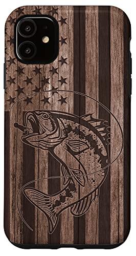 iPhone 11 Wood American US Flag Bass Largemouth Fishing Fisherman Gift Case