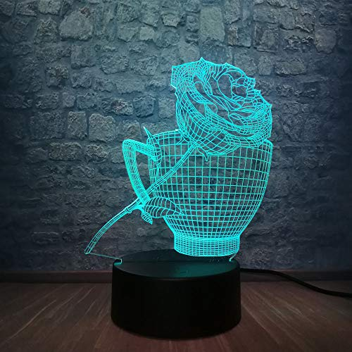 Regalo de San Valentín 3D Rose Flower Led Night Light Atmosphere USB Base RGB Desk Table Sleep Lamp Party Decor