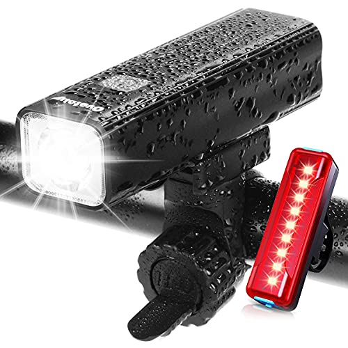 Ovetour 1000 Lumen USB Rechargeable Bike Light,Super Bright Bicycle Front Headlight and Back Taillight,5 Light Modes,Large Capacity Battery with Power Bank Function,for Commuters,Road Cyclists
