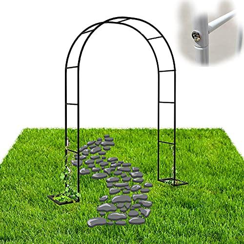 Gnova Metall Torbogen Rosenbogen,Gartenbogen Rankhilfe Rankgitter Spalier,kleine Pergola 80cm breit x200cm hoch