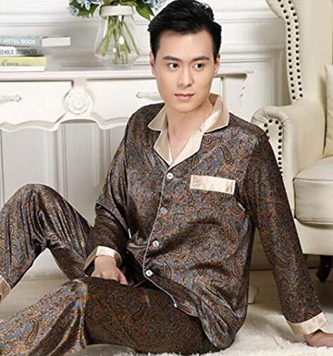 CIDCIJN Herren Pyjama Set,Seide Pijama Einheit Männer Frühling Frühling Herbst Pyjamas Set Satin Lounge Hose Langarm Shirt Gedruckt Sleepwear Männliche Nacht Tragen, Braun, XXL