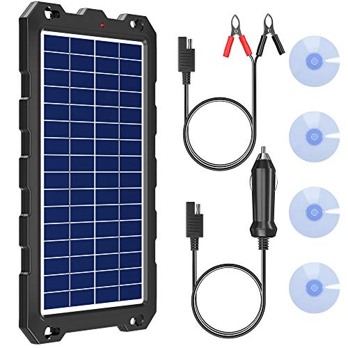 POWOXI Solar Battery Charger 12 Volt 10W Waterproof Solar Panel Kit for Car, Boat, RV, Trailer, Motorcycle, Marine, Automotive, Powersports, Snowmobile, etc.
