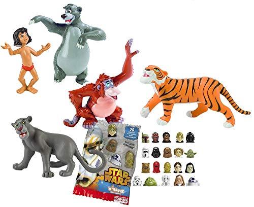 Comansi Lote 5 Figuras Bullyland El Libro de la Selva - Mowgli - Baloo - Bagheera - Rey Louie - Shere Khan + Regalo