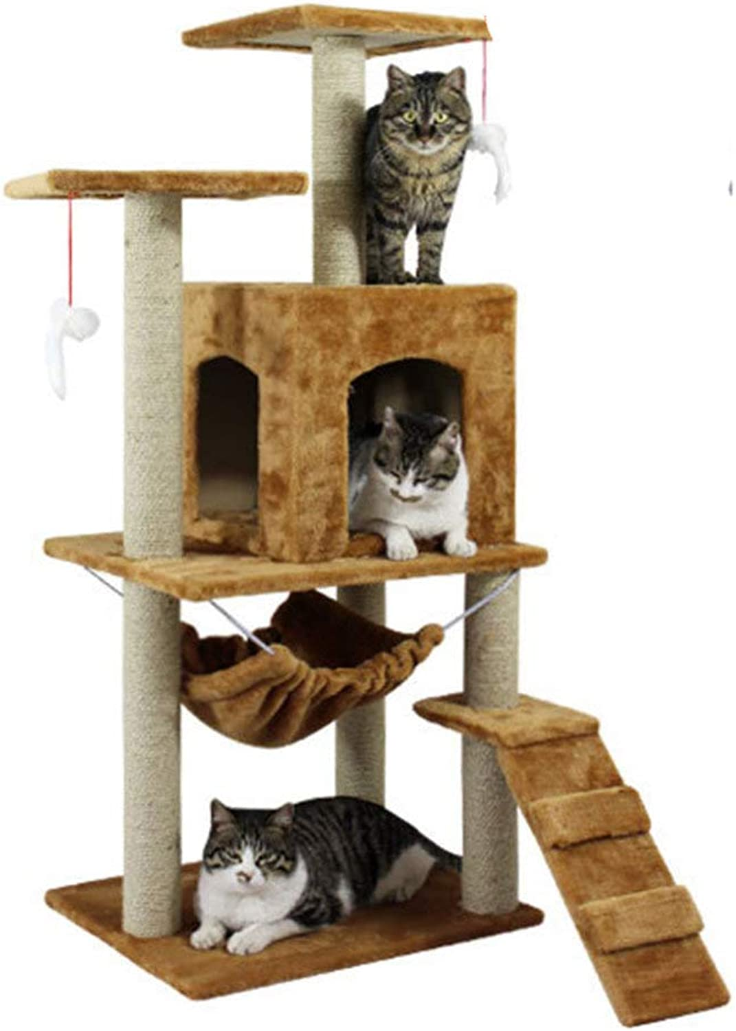 Cat Tree Pet MultiLevel SisalCovered Scratcher Slope,Hammock Bed And Toy Ball,Yellow