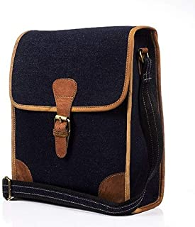 """Goatter,Denim with Leather Material 12""""Multi-Compartment Laptop Sleeves/Briefcase/Messenger Bag/Laptop Bag"""