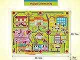 FunnyGoo Large Size Pen Driving Labyrinth aus Holzperlen für Kinder ab 3 Jahren für Ihre Kinder, glückliche Gemeinschaft -