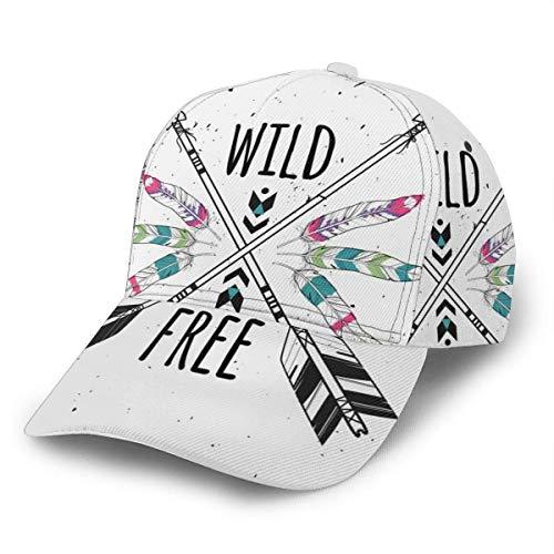 Gorra de béisbol unisex Wild and Free Tribal Crossed Ethnic Arrows Caps Snapback Bill Hip Hop Sombreros/Sombrero