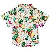 Big Boys' Flamingos Pineapple Hawaiian Shirts Party Button Down Short Sleeve Summer Tops Beach Casual Cute Claoting Garment 7-8T