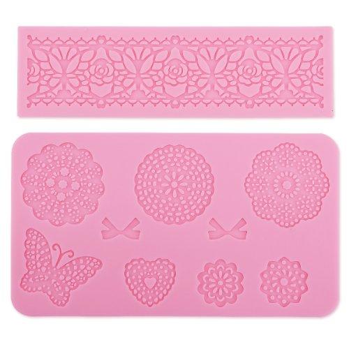 Surepromise Lot de 2 moules à décorations de gâteau en silicone Motif fleurs et dentelle