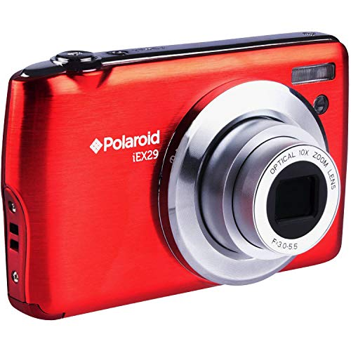 Polaroid iEX29 18MP 10x Optical Zoom Digital Camera with 720p HD Movie Recording (Red) | Ultra-Portable - Perfect for Vacations, Family Photos, BBQs and More