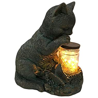Hi-Line Gift Ltd. Cat Sitting with the Fairy Lights In a Jar