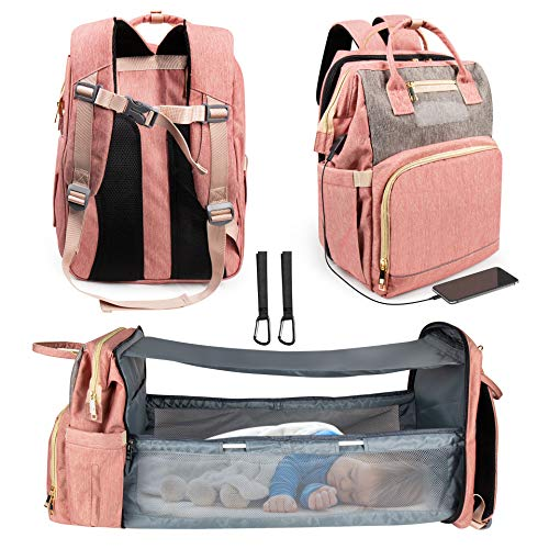 3 in 1 Diaper Bag Backpack, Travel Bassinet Foldable Baby Bed, Foldable Changing Station, Waterproof, USB Charging Port, Baby Bag Portable Crib