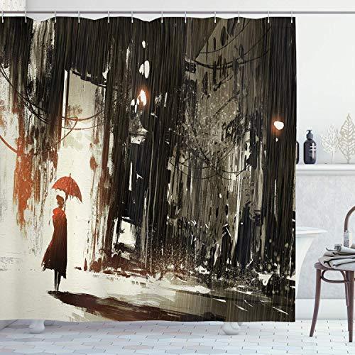 N\A Fantasie Duschvorhang, Frau mit Regenschirm im Regen Altstädter Ruinen Apokalypse Superheld Action Desgin, Stoff Stoff Badezimmer Dekor Set mit Haken, Beige Grün