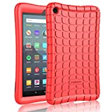 Cuauco Silicone Case for All-New Amazon Fire 7 Tablet (9th Generation, 2019 Release)-[Kids Friendly] Light Weight [Anti Slip] Shock Proof Protective Cover for All-New Fire 7 Tablet (7' Display)(Red)