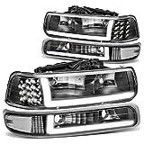 DNA Motoring HL-LB-CSIL99-BK-CL1 Black Housing Pair LED DRL Headlight Bumper Lamps Replacement For 99-02 Silverado
