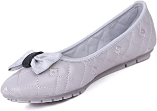 Robasiom Flats Shoes for Women Comfortable Ballet Flat Dress Shoes No Heels Square-Toe with Classic Bowknot Casual Slip-On