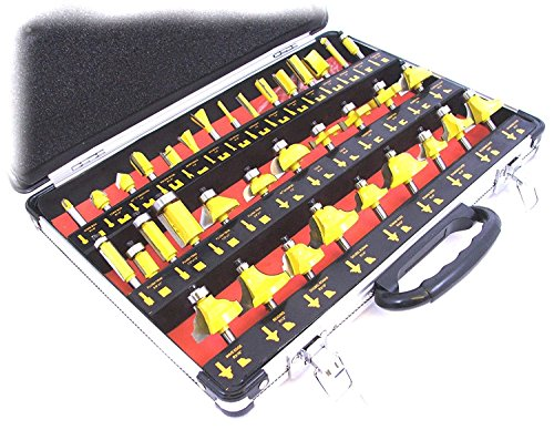 Toolzone - Punte per fresa verticale, gambo da 6,35 mm (1/4'), 35 pz con custodia