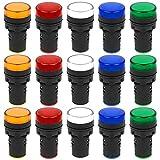 Iyowei 15Pcs 22 mm Luz Indicadora LED Indicador Luz Piloto AC 220-230V, 20mA Lámpara de Señal Indicadora de 5 Colores(Blanco, Amarillo, Rojo, Azul, Verde)