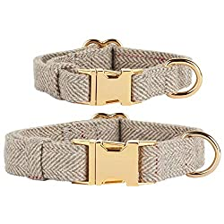 Thoroughbeds Light Grey Herringbone Tweed Dog Collar - Available in a choice of extra small or small Soft, light grey fabric provides a comfortable fit - Perfect for puppies as well as for miniature and small to medium breeds Double layered fabric fo...