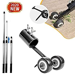 FASESH Stand Up Weeder and Weed Remover Tool - Manual Weeder Hand Tool - Stainless Steel Weed Puller with Telescopic Handle and High Strength Foot Pedal - Portable Garden Lawn Weeding Tool (BK)