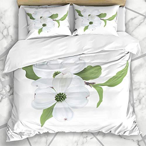 993 CCOVN Bettwäsche - Bettwäscheset Blüten-grüne Blumen-weißer Hartriegel Cornus Florida Hand gezeichnetes Natur-Baum-Blüten-Niederlassungs-Design Mikrofaser weich dreiteilig135*200