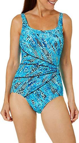 Roxanne Womens Snakeskin Sash One Piece Swimsuit 40 D Blue Multi