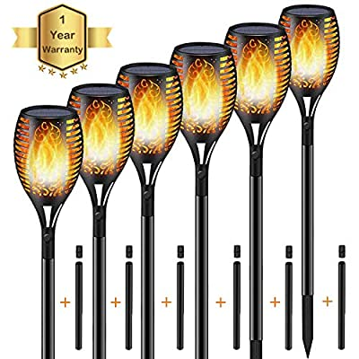 KISCHERS Solar Powered Led Torch Lights Warm Dancing Flickering Flame Dawn to Dusk Auto On/Off Outdoor Waterproof Garden Light Landscape Decoration Lighting for Patio Pool Pathway