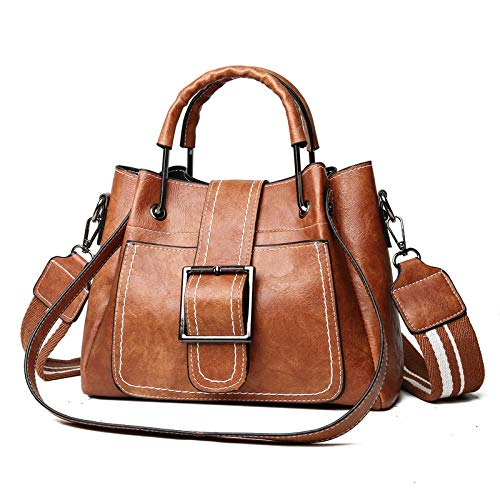 Vrouwen portemonnee en handtassen mode olie leer tang tas ijzer handvat dikke band tas Europa en Amerika Wilde vrouwen tas bruin