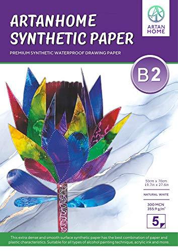 ArtanHome 5 Stück 50 cm x 70 cm 355,9 g/m² Alkoholtinte und Aquarellpapier – wiederverwendbares, nicht absorbierendes weißes synthetisches Papier für die Verwendung mit Alkoholtinten, Aquarell